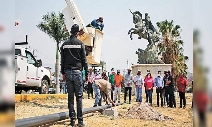 Banderazo a trabajos de iluminación en Yautepec