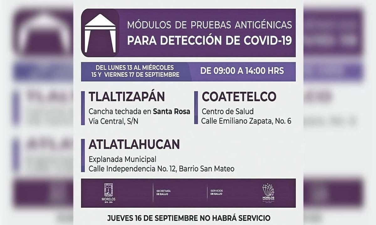 Instalan módulos de prueba vs COVID19 en 3 municipios de Morelos